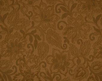 Brown Jacobean Floral Matelasse Upholstery Fabric