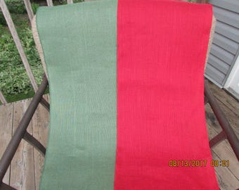 """Red or Spruce Green Burlap Table Runners 14"""" wide"""