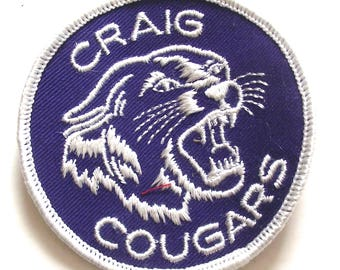 Craig Cougars Patch Vintage Sports Team Mascot Embroidered Patch