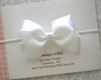 White Baby Bow Headband, White Bow Headband, Boutique Bow, Baby Headband, White Bow, Newborn Headband Toddler Headband Baby Bows Toddler Bow