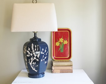 Blue Lamp with Embossed Cherry Blossom