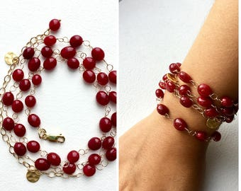Long Red Necklace, Red Necklace, Red Agate Necklace, Gemstone Jewelry, Gift for Her