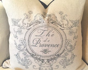 French Script Provence Pillows in oatmeal