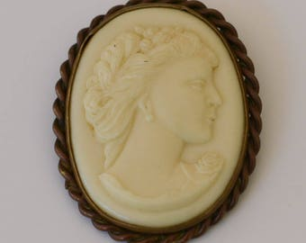 Victorian Cameo, White Cast Glass Brooch