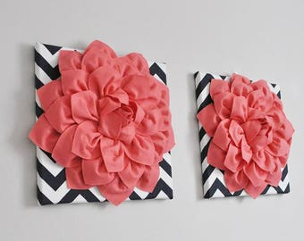 Coral and Black Floral Wall Art, Vintage Inspired Art, Hawaiian Color Scheme, Coral Nursery Art, Bathroom Wall Art, Bedroom Canvas Art Set