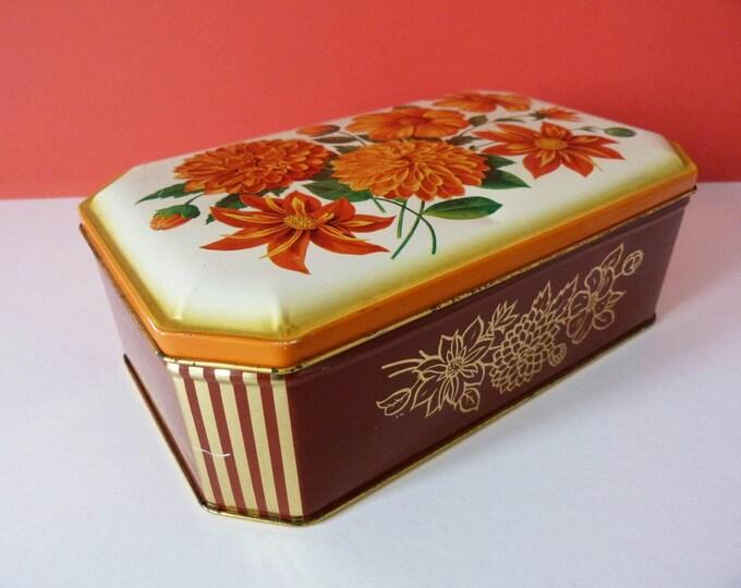 Vintage storage tin flower power