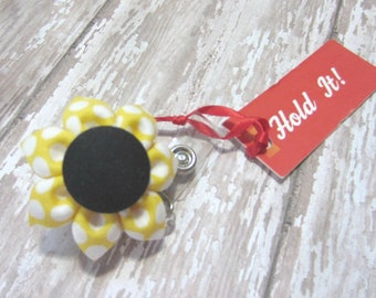 Yellow & Black Dot Retractable Badge Reel, Fabric Flower Badge Reel, Lanyard, Polka Dot ID Badge Holder, Nurse ID Holder, Student ID