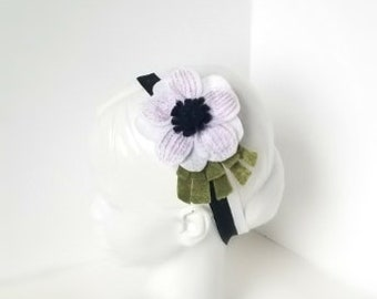 White Anemone Headband | Baby Shower Gift, Newborn Photo Prop, Spring, Floral, Flower Crown, Elastic Hair Band, Cute, Child, Accessory |