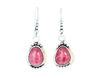 RHODOCHROSITE EARRINGS Rosy Pink Sterling Free Form NewWorldGems