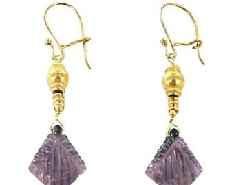 Summer Sale : ) 18k Gold Plum Tourmaline Earrings