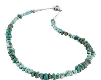 Summer Sale : ) Carico Lake Turquoise Necklace Blue And Green Nugget Beads 17""