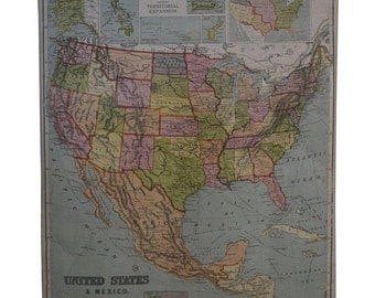 ON SALE Early 20th Century Map of the United States and Mexico, 1916 Edition