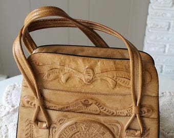 LIQUIDATION 50% OFF 30s Tooled Leather Handbag with Aztec Sun Motif Top Handle Zipper compartments