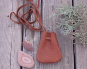 Brown medicine bag, ready to ship, amulet pouch , keepsake pouch , necklace bag