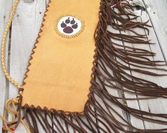 ON SALE Pipe bag with beaded wolf paw, leather pipe bag , chanupa bag , wolf paw totem bag , fringed pipe bag , ceremonial pipe bag