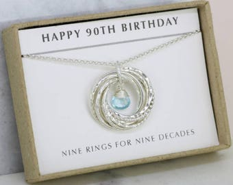 90th birthday gift for mother, December birthstone gift for grandma, blue topaz jewelry for 90th - Lilia
