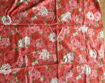 """Vintage Cotton Fabric Rose Watercolor Print 1930's 1 Yd. L 35"""" W Pinks"""
