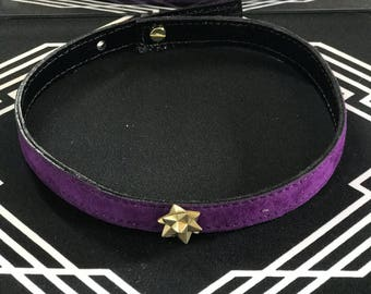 Handmade purple suede collar choker with gold geometric embellishment