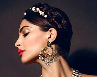 Gold Kundan earrings,Red Gold kundan earrings,Chandelier earrings,Indian jewellery, Ethnic Jewelry by Taneesi