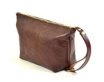 Handmade Mahogany Brown Leather Wash Bag Travel Bag