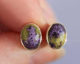 Grape and Green - Rare Atlantisite Sterling Silver Earrings