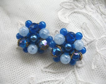Vintage Cluster Beaded Earrings ~ Clip On ~ Royal Blue Plastic Beads