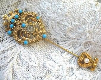 Vintage Turquoise Glass Stick Pin ~ Jabot Pin