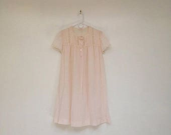 SALE Vintage 1970s Pale Ghostly Soft Lacy Pintucked Semi-Sheer Pink Nightgown