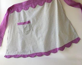 Vintage Apron Gingham Lavender, lilac, floral, half, scallop
