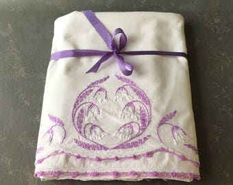 Vintage pillowcases, set, white, floral, lavender, embroidered, crocheted