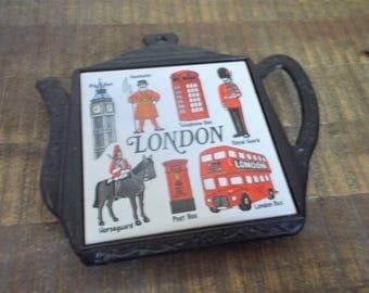 Vintage Souvenir Cast Iron Teapot London Tile Trivet