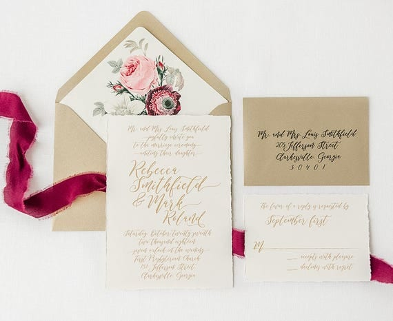 Gold Script Wedding Invitations Printed On Cotton Cardstock With
