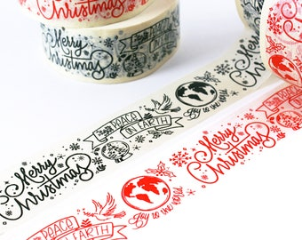 SHoP EXCLUSIVE - Merry Christmas masking tape with handlettered design - joy to the world, peace on earth - dove, snowglobe, world