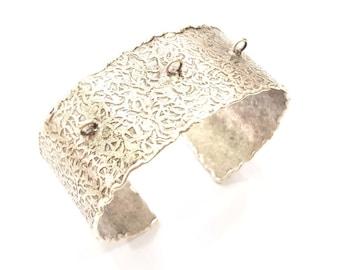 Silver Bracelet Blanks Bangle Blanks Cuff Blanks Adjustable Bracelet Blank Antique Silver Plated Brass  G9806