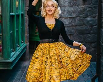 50's style Hogwarts Hufflepuff Dedication & Loyalty House dress, Harry Potter, reproduction vintage.
