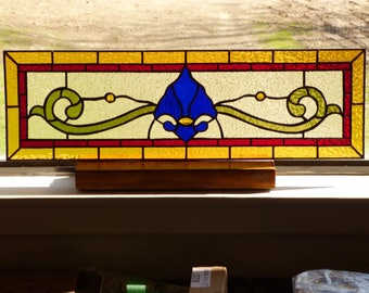 Stained Glass Transom - Victorian Fleur de lis Panel