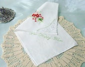 Embroidered Handkerchief, For Happy Tears, Bridal Party Gift, Floral Hanky, Hand Embroidered, Mother of the Bride, Mother of the Groom