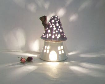 Night Light/ Fairy House -Purple Roof, Plain White House, Mushroom with Starry Sky -  - Ready to Ship - Children's Light / Nursery Light
