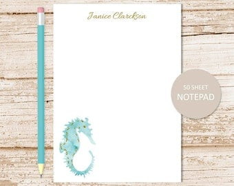 personalized notepad . seahorse notepad . watercolor seahorse, tropical summer . personalized stationary . stationery gift