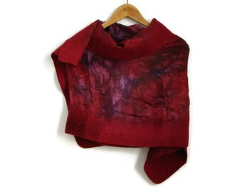 red felted silk shawl