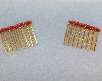 Pair of Victorian Style Hair Combs, Genuine Coral, Gold-Plated Combs - Affordable Elegance