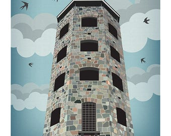 Lake Superior Shore Towns Series: WPA-Style Enger Tower in  Duluth, MN Travel Poster