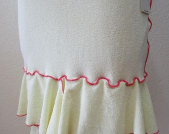 Cream color skirt or tube dress with 2 layers and red stitching plus made in USA  (v64)