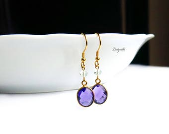 Earrings Sterling Silver Gold-plated Amethyst Fluorite