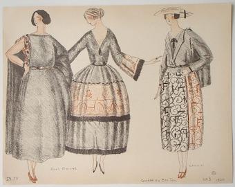 Pochoir print from Gazette du BON TON 1920 sketched by Mario Simon illustrating designs by Paul Poiret and Lanvin