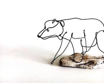 Bear Cub Wire Sculpture, Bear Wire Art, Wildlife Wire Sculpture, 537234722