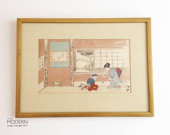 "Takeuchi Seiho Original Japanese Woodblock Print ""Spring Play"" 12 Views Mt. Fuji"