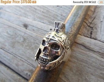 ON SALE Roman Centurion skull ring in sterling silver 925