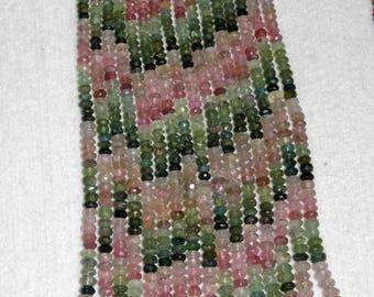 Tourmaline, Multicolor Rondelle, Faceted Rondelle, Tourmaline Bead, Semi Precious, Gemstone Bead, Sparkle, Half Strand, No7, 5-6mm