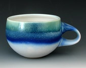 BLUE STONEWARE CUP #6 -  Blue Ceramicc Cup - Coffee Cup - Pottery Cup - Cappuccino Cup - Studio Pottery